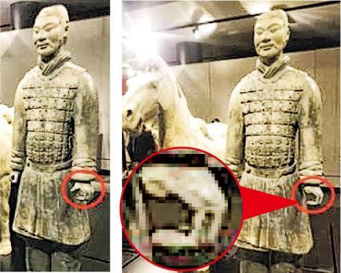 在美國展出的兵俑的左手拇指被折斷盜走,圖為左手原狀(左)及被盜後缺失拇指(右)。(網上圖片)