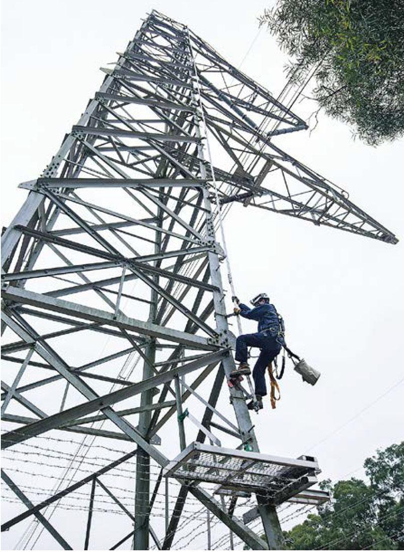 訓練時Gary曾接觸架空電纜範疇的工作,「不同的(電纜)塔有不同的攀爬方法」。