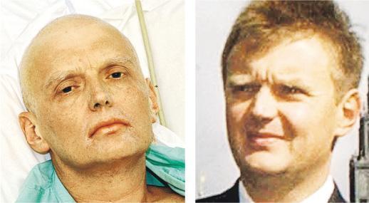 斯克里帕爾與女兒離奇昏倒事件,令人想起俄前變節特工利特維年科2006年疑遭俄政府毒殺,他於當年11月底死前一周病情惡化,頭髮脫落(左圖),與健康時模樣(右圖)判若兩人。(資料圖片)