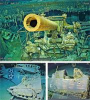 微軟創辦人之一艾倫的沉船搜索隊在澳洲東北面海域,找到76年前遭日軍重創的美軍航空母艦「列星頓」號殘骸,船上的艦炮(上圖)及戰機(下圖)仍清晰可見。(法新社)
