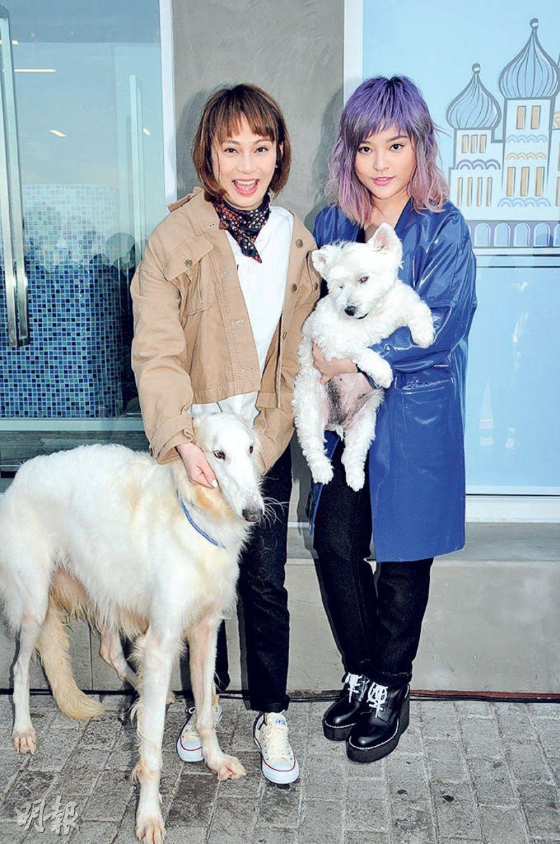 吳日言(左)與葉佩雯(右)同是愛狗之人。(攝影:孫華中)