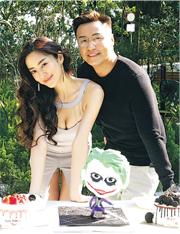 性感打扮的松岡李那為壽星仔張建聲慶祝35歲生日。(攝影/記者:楊安莉)