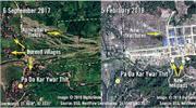 國際特赦組織發放兩張分別攝於去年9月6日(左)及今年2月5日(右)的衛星圖,可見原來羅興亞人的農地上興建了新建築物。(法新社)