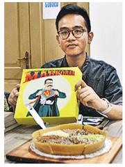 印尼總統佐科維多多的長子朱卜蘭(圖)不從政而售賣「煎蛋餅」,生意愈做愈好。(網上圖片)