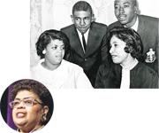 1964年,琳達布朗(前左)與1950年代「布朗案」集體訴訟的原訟人子女聚首。(法新社)