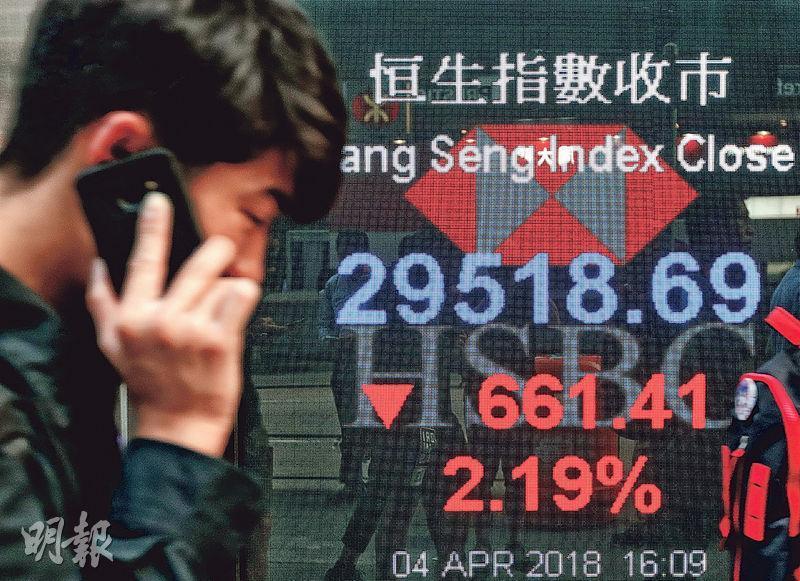 中美貿易戰一觸即發,中國商務部昨宣布對14類合共106項原產美國商品加徵25%關稅,影響環球金融市場,其中港股在消息公布後跌勢加劇,全日跌逾660點。(李紹昌攝)