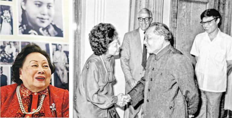 飛虎隊將軍陳納德遺孀陳香梅上月30日在華盛頓家中過世,享壽94歲。左圖為2016年陳香梅在紐約出席其91歲壽辰圖片展;右圖為1983年8月中共領導人鄧小平(前右)在北京會見陳香梅。(中新社、新華社)