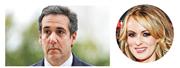 美國FBI周一搜查特朗普私人律師科恩(左圖)的辦公室和住處,美國傳媒指調查涉及科恩向聲稱與特朗普有染的色情電影演員克利福德(圓圖)的匯款紀錄。(路透社、資料圖片)