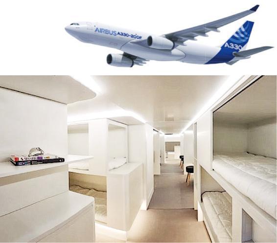 空巴A330的貨艙臥鋪將採用預製組件設計,方便拆裝。(網上圖片)