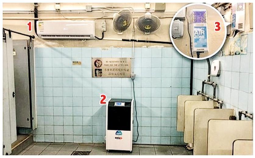 市建局行政總監韋志成喺網誌話跟進中環街市公廁衛生問題,展開多項改善措施,包括安裝冷氣機(1)、大型抽濕機(2)及離子空氣淨化器(3),以改善異味同衛生狀况。(市建局提供)