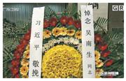 吳南生的追悼會上,3任國家主席習近平、胡錦濤及江澤民均有送花圈。(網上圖片)