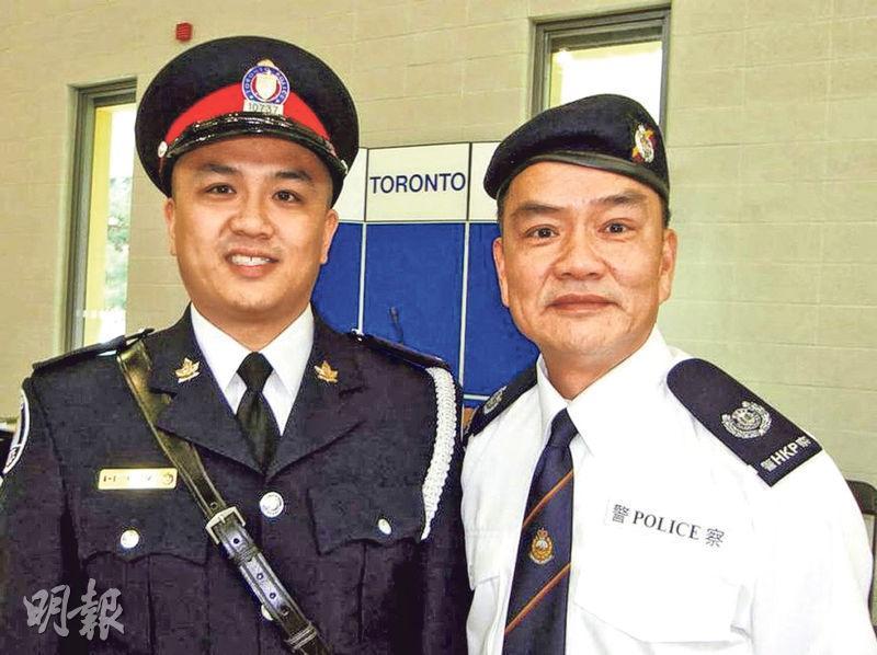 單獨制服疑犯的Ken Lam(左)及其曾在香港任職輔警的父親林明(右)合照。(網上圖片)