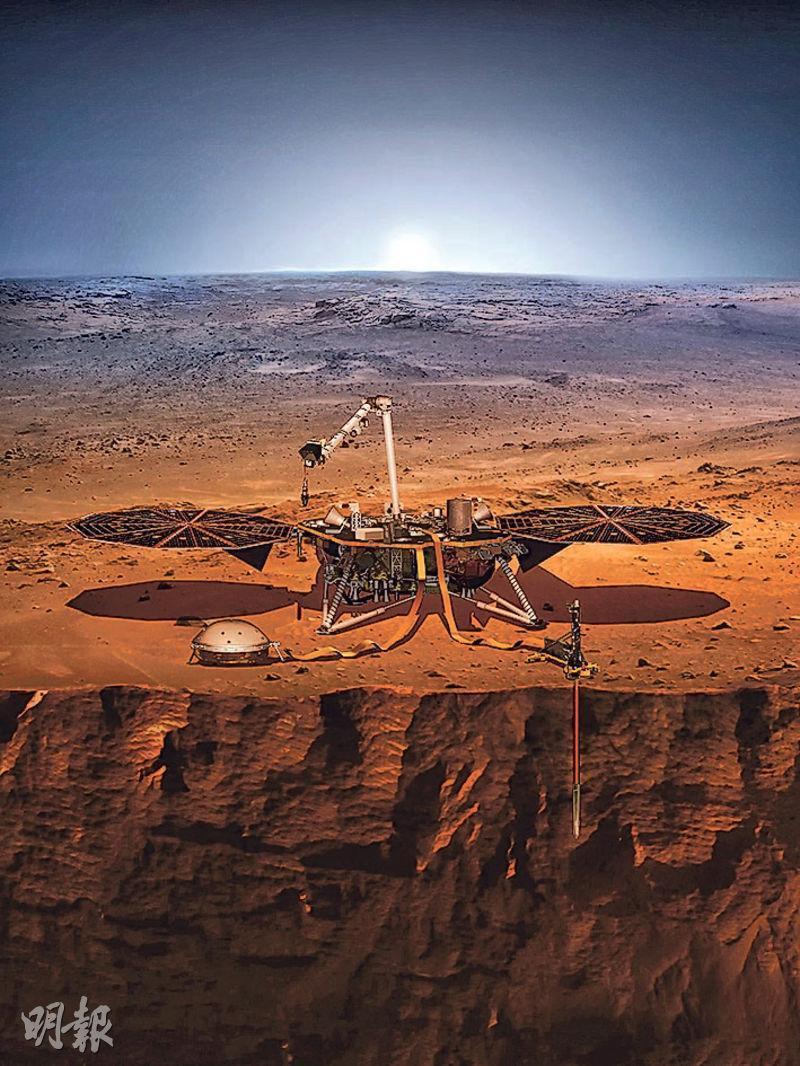 美國太空總署昨發射火星登陸器「洞察」號(InSight),助研究火星形成機制,為人類登陸火星鋪路。圖為「洞察」號探索火星模擬圖。(法新社)