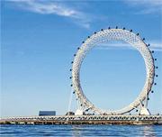 「渤海之眼」(上圖)昨正式啟用,摩天輪共有36個車廂(下圖),每個車廂可容納8至10人。(網上圖片)