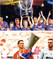 巴塞隊長恩尼斯達(上圖中)煞科戰後高舉西甲冠軍獎盃,而費蘭度托利斯(下圖左)則在賽前為馬體會捧起歐霸冠軍獎盃祝捷。(法新社、路透社)