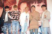 Teen Top成員Ricky(左起)、Niel、天地、C.A.P及創造來港舉行簽名會,吸引逾百粉絲捧場。