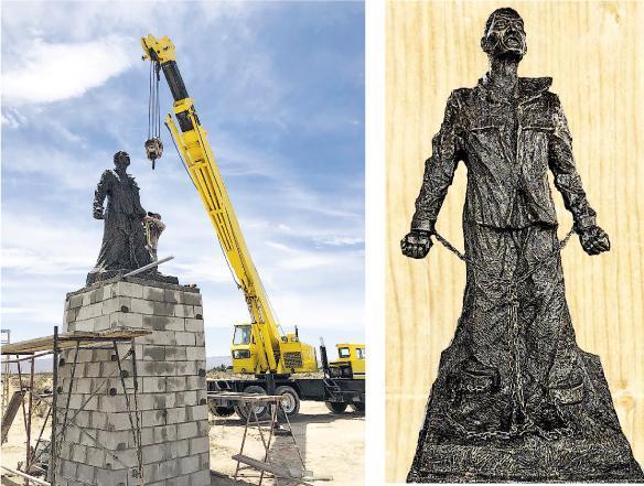 雕塑家陳維明創作的已故民運領袖李旺陽雕像已完成,在美國洛杉磯自由雕塑公園內安裝完畢,並將於6月6日李旺陽的忌日舉行落成典禮。(網上圖片)