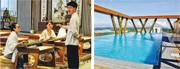 國家希望將海南博鰲樂城國際醫療旅遊先行區塑造成頂級的療養聖地。中心內有文化區(左圖),讓客人可以研習琴棋書畫,中心頂樓設有泳池(右圖)。(李泉攝)