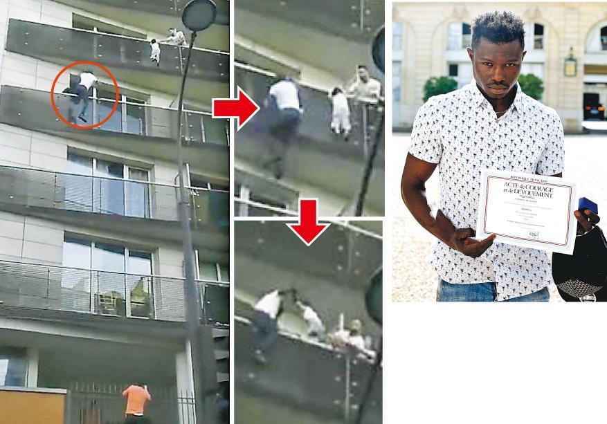 馬里青年加薩馬(紅圈示)上周六徒手爬上巴黎一幢樓宇5樓陽台救回命懸一線的男童。他昨獲法國總統馬克龍接見和頒發英勇獎狀(右圖),將獲批公民權和獲邀加入消防隊。(網上圖片、法新社)