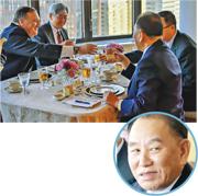 朝鮮偵察總局局長金英哲(上圖右及圓圖)和美國國務卿蓬佩奧(左)周三在紐約會面和共餐。(法新社)