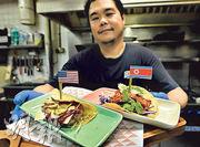 新加坡一家餐廳因應美朝峰會,推出取名「特朗普」、「火箭人」(特朗普對金正恩的謔稱)的墨西哥煎玉米捲餅。(法新社)