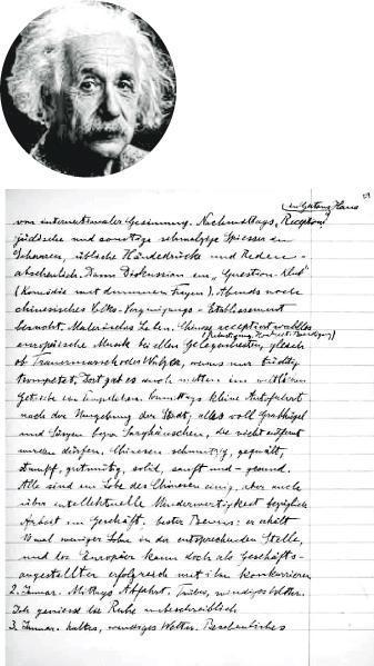 愛因斯坦1920年代的旅遊日記近日翻譯成英語出版,其中的種族偏見令外界震驚。(網上圖片)