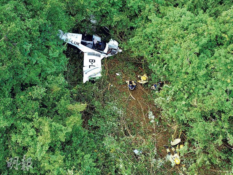 小型飛機失事墜落馬屎洲的山坡叢林,部分樹木被剷平,卸去衝力,機師獲救時仍清醒。