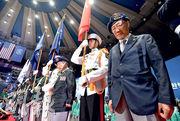 韓國老兵昨在首爾於韓戰爆發68周年紀念儀式上默哀悼念戰爭死難者。(法新社)