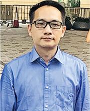 事主丈夫曾坤洪(圖)昨在專家證人作供期間突然情緒激動,裁判官後來下令暫時休庭。(湯曉津攝)