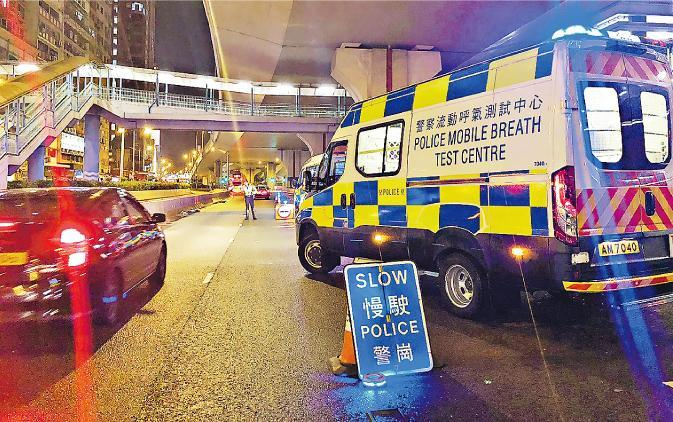 世界盃期間,警方於多區設置路障,為司機做酒精呼氣測試。(警方提供)
