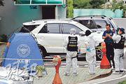韓國在野黨正義黨黨鞭魯會燦昨在首爾跳樓身亡,警方事後到現場調查。(法新社)