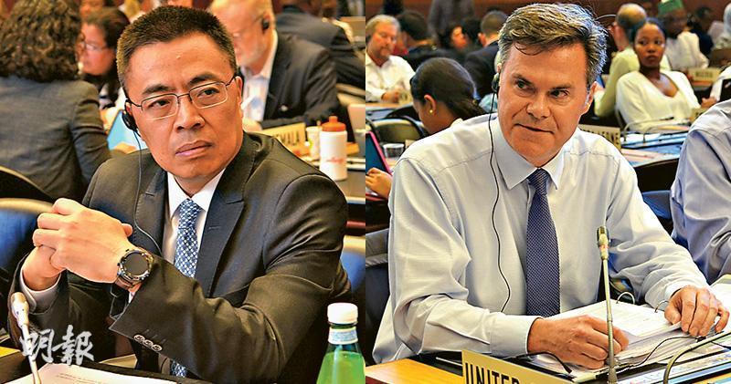 WTO總理事會周四在日內瓦總部舉行會議,其間中國代表張向晨(左)駁斥美國代表謝伊(右)對中國經濟模式的指摘,更稱對方令會議「火藥味十足」。(中新社)