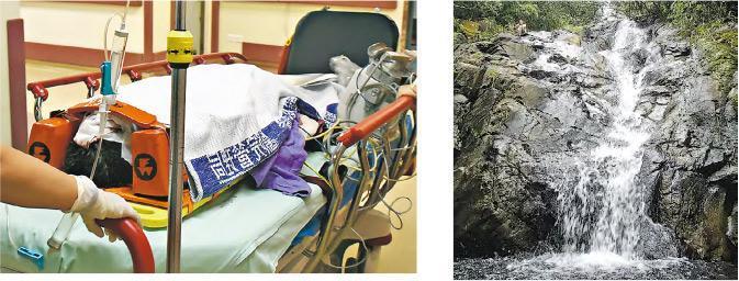 65歲女子昨日在大嶼山青龍石澗(右圖)行山時跌倒,頭部流血手腳受傷,由飛行服務隊直升機先送到灣仔停機坪,再由救護車送到東區醫院治理(左圖)。(黃詩雅攝、資料圖片)