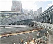 有傳媒報道稱,高鐵西九總站(圖)內部的連接隧道出現滲水,承建商要灌漿改善。(資料圖片)
