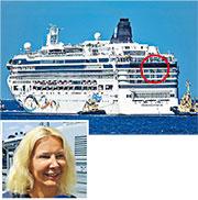 朗斯塔夫(左圖)在亞得里亞海域不慎從「挪威之星」號郵輪7樓(紅圈示)墮海,10小時後僥倖獲救。(網上圖片)
