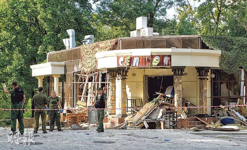 「頓涅茨克人民共和國」親俄總理兼總統扎哈爾琴科遭遇炸彈襲擊身亡的咖啡室。(路透社)