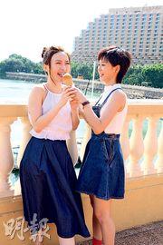 林欣彤(左)與陳慧敏在MV中互餵雪糕,姊妹情深。