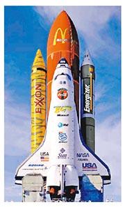 NASA太空穿梭機和火箭將來塗滿廣告構想圖。(網上圖片)