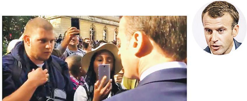 法國失業園丁若納唐‧讓(左圖)上周六向總統馬克龍(左圖右及圓圖)傾訴難找工作,馬克龍稱「過一條街就能找到工作」的答法惹來批評。(網上圖片、路透社)