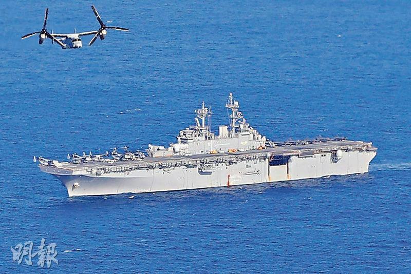 中國拒絕美軍兩棲攻擊艦「黃蜂」號(USS Wasp)於下月訪問香港的申請。圖為目前位於東海水域的黃蜂號。(網上圖片)
