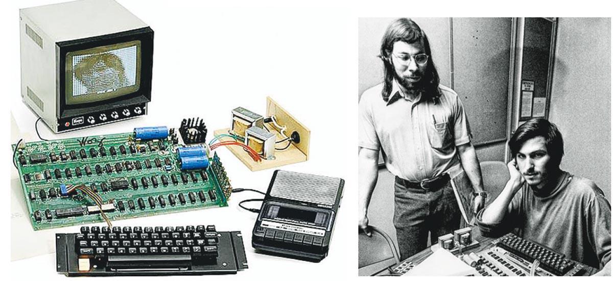 1976年面世的美國蘋果電腦公司第一代個人桌面電腦Apple I(左圖),周二以約293萬港元高價賣出。右圖為Apple I設計者、蘋果公司共同創辦人沃茲尼亞克(左)和喬布斯(右),當年與Apple I合照。(網上圖片)