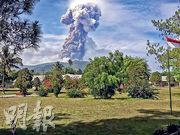 蘇拉威西島上的索普坦火山昨日噴出火山灰。(法新社)