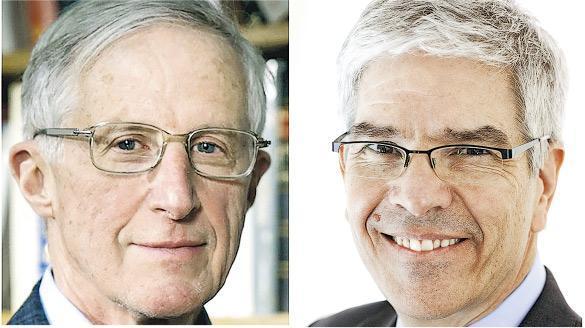 耶魯大學經濟學教授諾德豪斯(左)及紐約大學教授羅默(右)因在可持續經濟發展的研究取得突破,榮獲諾貝爾經濟學獎。(網上圖片)
