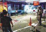 曼谷市中心水門亭閣購物中心附近周日爆發槍戰致1死4傷後,警員到場調查。(網上圖片)