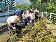 2018年文憑試通識科卷一有題目問及義工計劃及公民身分。圖為超強颱風「山竹」2018年9月襲港後,大量樹枝堆滿街道,有學生義工隊協助清理行人路。
