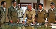 二戰題材電影《大轟炸》昨日宣布取消上映。《大轟炸》參演陣容龐大,包括韓國影星宋承憲(左起)、內地影星劉燁、奧斯卡影帝艾恩布迪、美國巨星布斯韋利士、香港影星謝霆鋒及陳偉霆。(網上圖片)