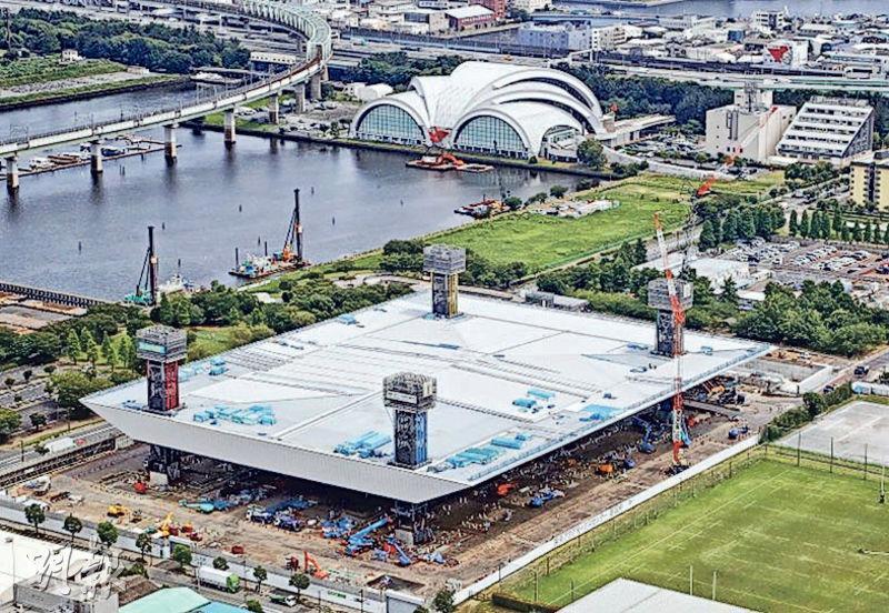 日本公司KYB的防震器涉測試數據造假。東京政府表示,2020年東京奧運場地水上運動中心(圖)亦有使用涉事公司產品。(網上圖片)