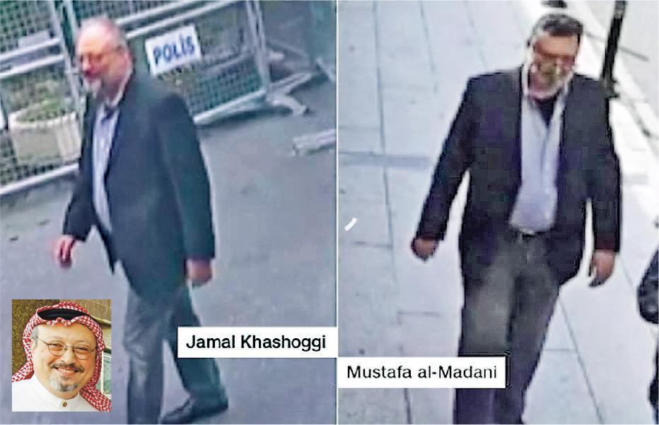 美國有線新聞網絡昨日發布閉路電視畫面,顯示卡舒吉本月2日進入沙特駐伊斯坦布爾領事館的情景(左圖),其後有一名沙特人員穿著他的服裝扮作他從領館離開(右圖)。(網上圖片)