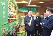 國家主席習近平(前左一)昨日到清遠英德電子商務園考察,了解電商及扶貧情况。(新華社)