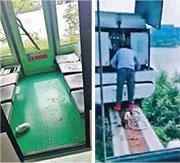 深圳華僑城「歡樂谷」昨發生兩列高空觀光無人駕駛列車追撞事故,多人受傷,事後車廂地面留下血漬(左圖)。事故發生前,有工作人員檢查故障停駛的前一列列車(右圖)。(網上圖片)
